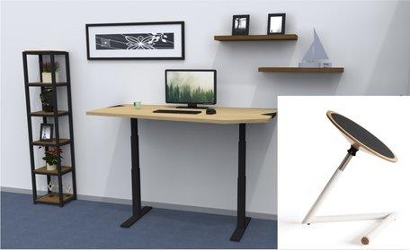 Combideal: Standaard zit-sta-tafel en Wigli-One wiebelkruk